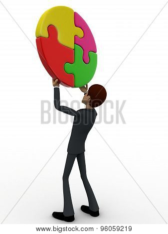 3D Man Holding Four Connect Circular Puzzle Pieces Concept