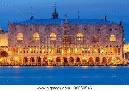 Venice. Doge's Palace At Night.