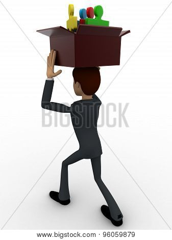 3D Man Holding Box Of Puzzle Pieces On Head Concept
