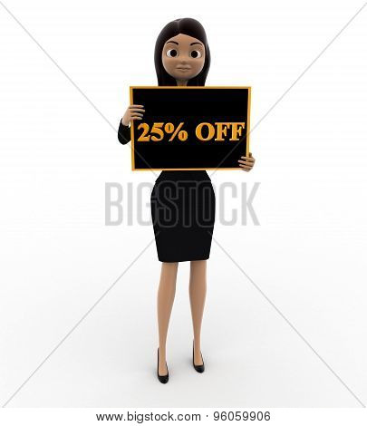 3D Woman Holding 25 Percentage Discount Board In Hand Concept