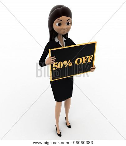 3D Woman Holding 50% Off Board In Hnad Concept