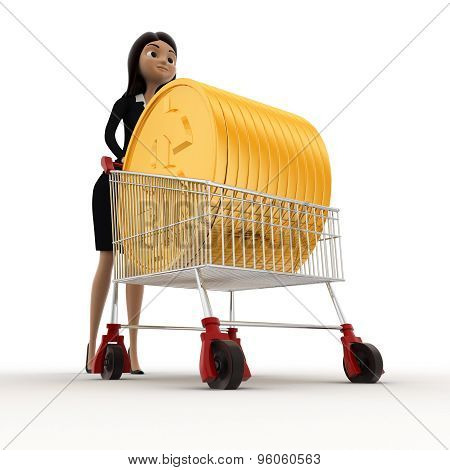 3D Woman Draw Cart With Golden Coin Of Dollar Concept