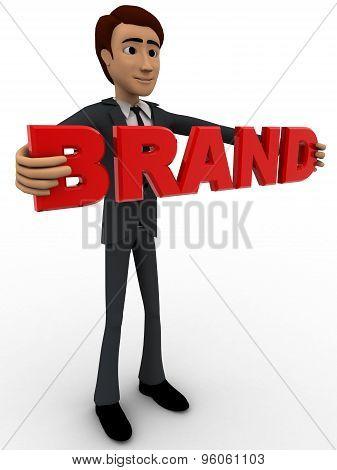 3D Man Holding Brand Text Concept