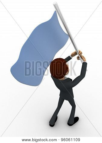 3D Man With Blue Flag In Hands And Polling It Concept