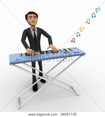 3D Man Play Morden Musical Keyboard Concept