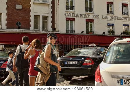 Paris, France -  August 19, 2014. Tourists Walking On Montmartre.