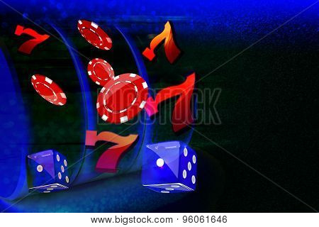 Coins, dollars, chips, lucky seven and dice flying out form a Casino Slot machine