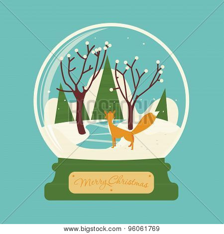 Merry christmas glass ball with fox in the forest. Celebratory scenery. Eve of New Year. Congratulat