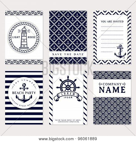 Sea Banners. Vector Card Templates.