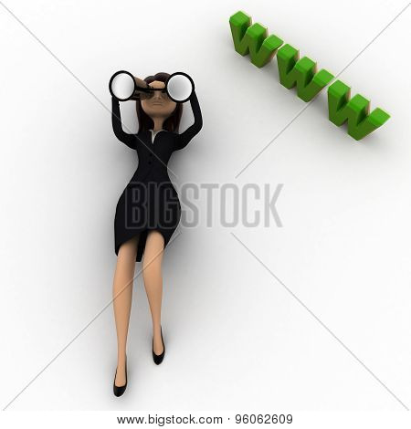 3D Woman Lying On Floor And Looking For Website Thourgh Binocular Concept