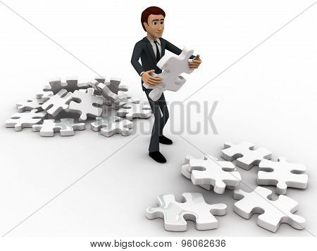 3D Man Replacing Puzzle Pieces From One Place To Another Place Concept