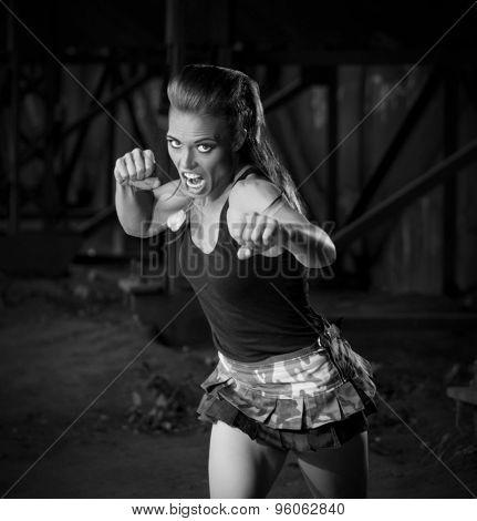 Young woman in uniform (monochrome version)