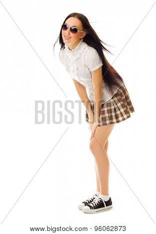 School girl in plaid skirt isolated