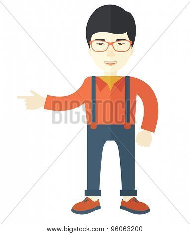 A successful young man with his thumbs up. A Contemporary style. Vector flat design illustration isolated white background. Vertical layout