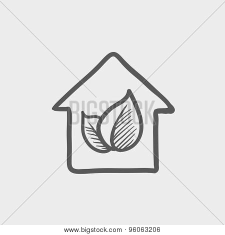 Leaf house sketch icon for web and mobile. Hand drawn vector dark grey icon on light grey background.