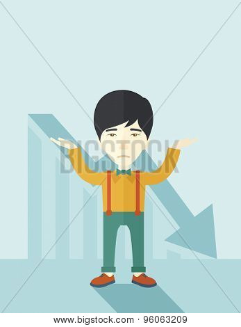 A sad asian guy raising his two arms surrendering causing of his failed business. Graph arrow down, shares fall. Unsuccessful business concept. A contemporary style with pastel palette soft blue