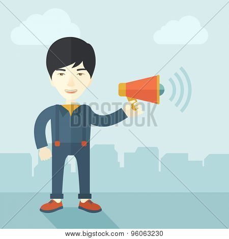 A businessman in the field holding a megaphone use to communicate with his employee. A contemporary style with pastel palette soft blue tinted background with desaturated clouds. Vector flat design