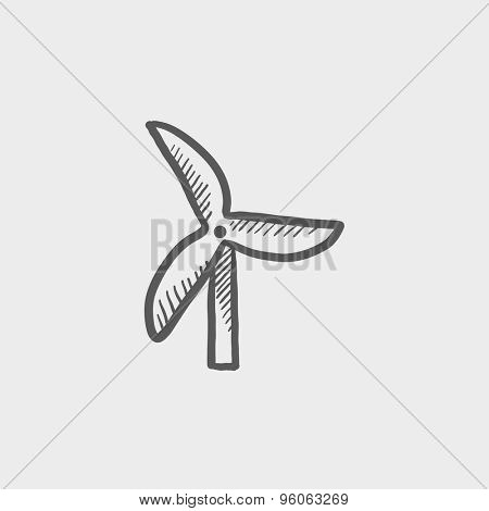 Windmill sketch icon for web and mobile. Hand drawn vector dark grey icon on light grey background.