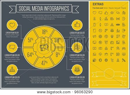 Social Media infographic template and elements. The template includes the following set of icons - online, blogging, network, share, follow, laptop, computer, gear and more. Modern minimalistic flat