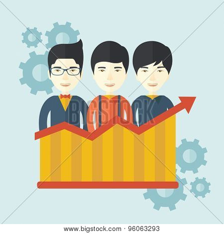 A happy chinese businessmen standing infront of growing graph with gears at their back. Successful business concept. A contemporary style with pastel palette soft blue tinted background. Vector flat