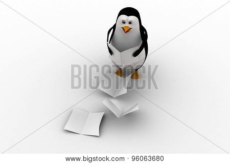 3D Penguin Falling Files From Hand Concept