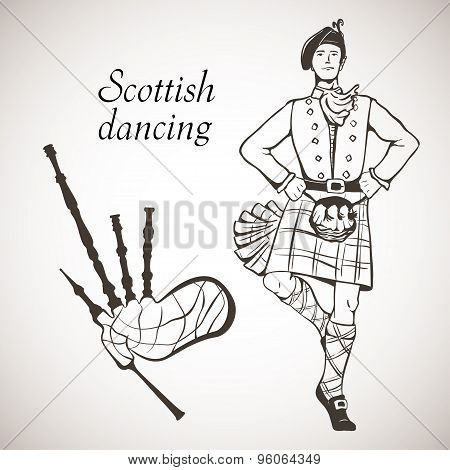 Sketch of Scottish dancer and Bagpipes on white board