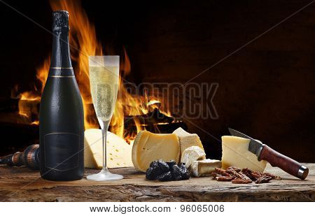 champagne with delicious cheeses