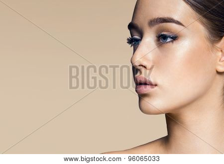 Closeup Portrait Of Beautiful Girls Face