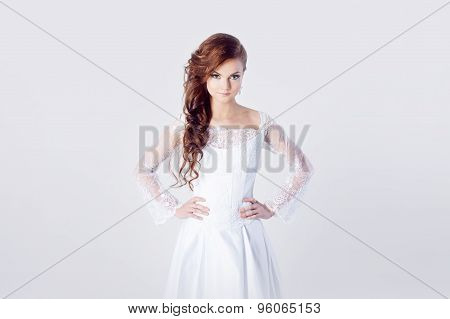 Portrait of bride in wedding dress and  a bad mood