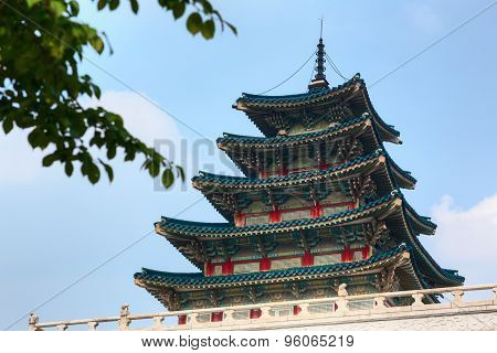 Wooden colorful tower of Korean palace