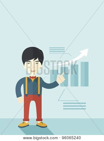 A japanese businessman viewing the company sales that grows. Business growth concept. A contemporary style with pastel palette soft blue tinted background. Vector flat design illustration. Vertical
