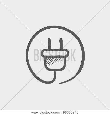 Electrical plug sketch icon for web and mobile. Hand drawn vector dark grey icon on light grey background.