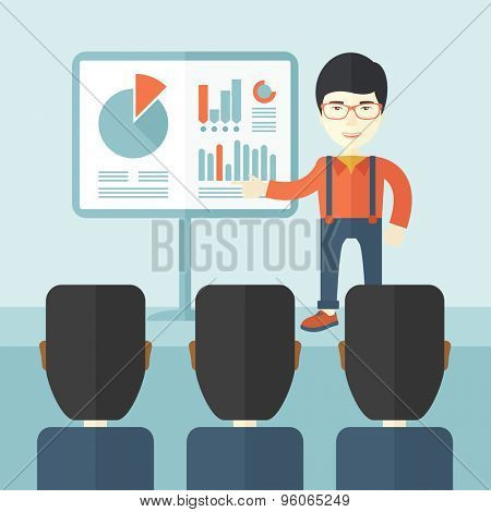 A chinese marketing officer show his business plan to his team. Teamwork concept. A contemporary style with pastel palette soft blue tinted background. Vector flat design illustration. Square layout