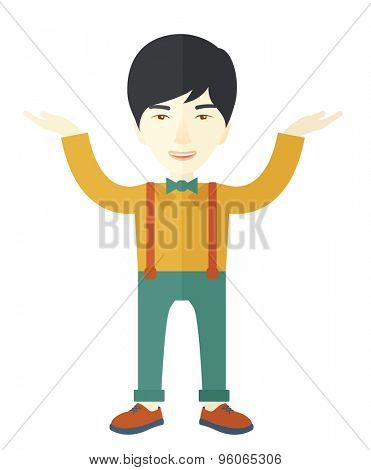 A sad young buisnessman raising his two arms shows that he is failed in business. A Contemporary style. Vector flat design illustration isolated white background. Vertical layout.