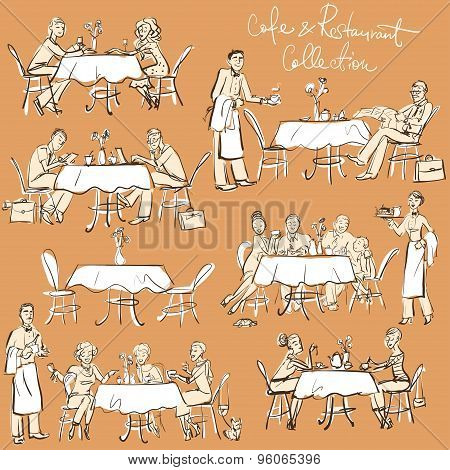 People at cafe and restaurant - Hand drawn Collection.