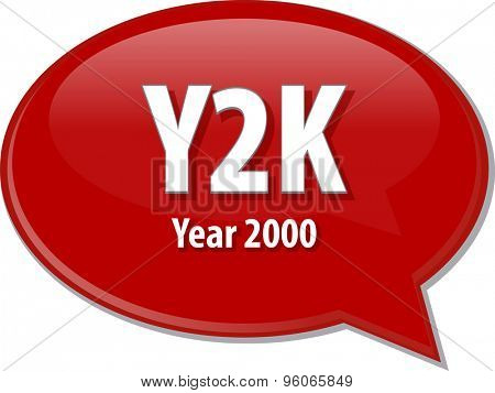 Speech bubble illustration of information technology acronym abbreviation term definition Y2K Year 2000