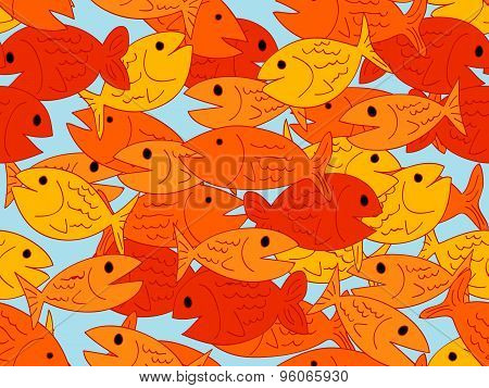 Seamless Cartoon Fish Pattern