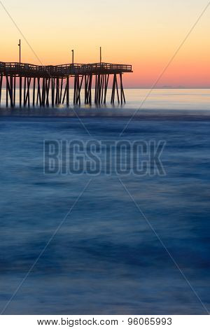 Long Exposure of Fishing Pier at Sunrise