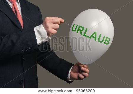 A Dream Bursts Symbolic With A Balloon And The German Word For