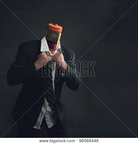 Businessman In Suit With A Accumulator As Head