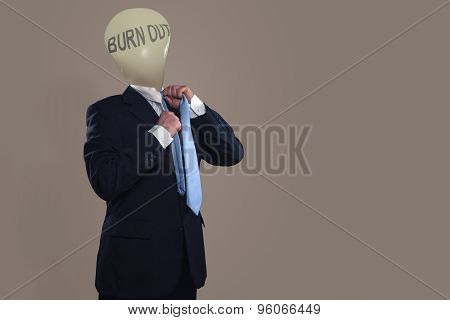 Symbol Of A Businessman With Burn Out Syndrome