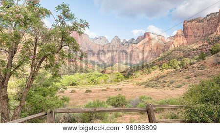 West Temple, Sundial, Altar of Sacrifice, And Tower Of The Virgins, Zion National Park, UT