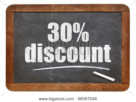 thirty  percent discount sign - white chalk text on an isolated  vintage slate blackboard