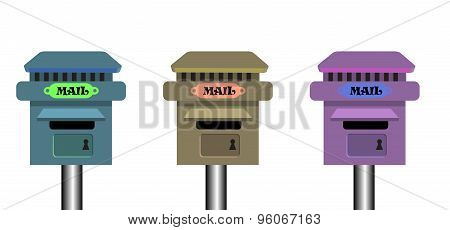 Set of three mailboxes