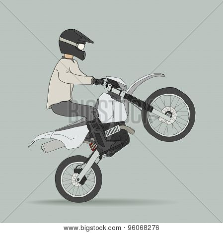 Biker on off-road motorcycles
