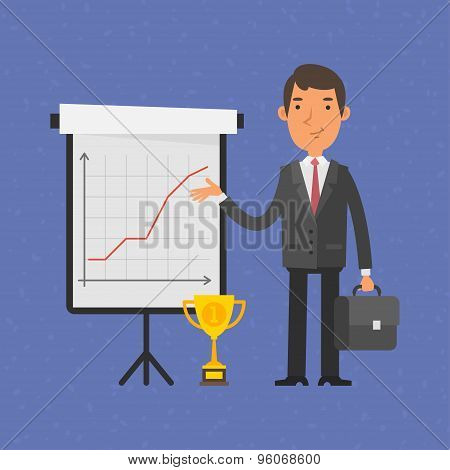 Businessman points on flip-chart with graph