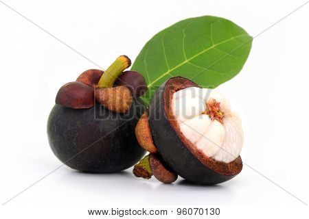 Mangosteen Isolated On White Background