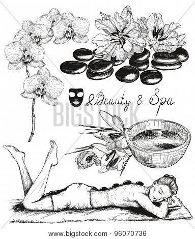 sketch of Beauty and healthcare set, hot stones massage
