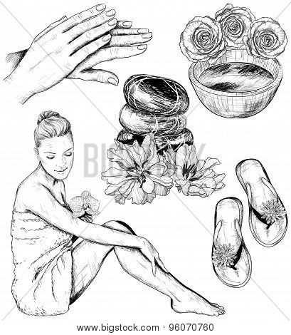 Set of Beauty and healthcare spa illustrations