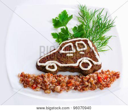 The Car-shaped Liver Pancake With Buckwheat Porridge For Children
